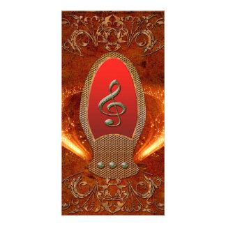 Music, clef made of diamond with floral elements picture card