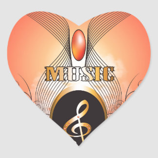 Music clef heart stickers
