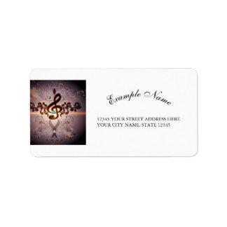 Music, Clef with elegant floral design Address Label
