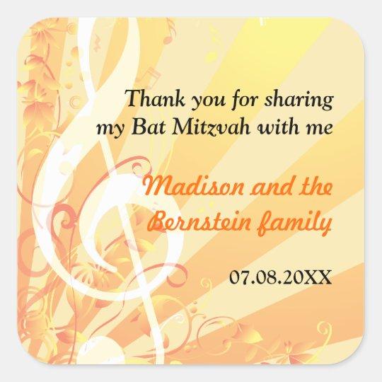 Music Clefs Bat Mitzvah Sticker