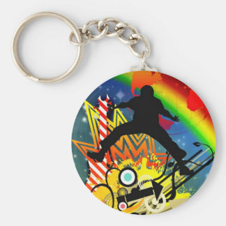 Music colorful illustration basic round button keychain