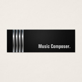Music Composer - Black Silver Stripes Mini Business Card