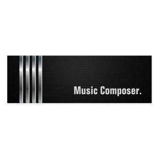 Music Composer - Black Silver Stripes Pack Of Skinny Business Cards