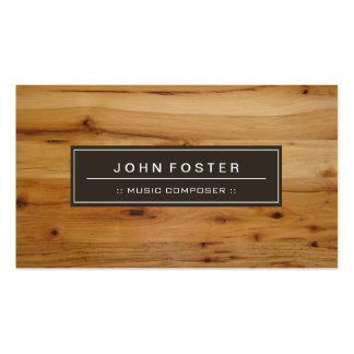 Music Composer - Border Wood Grain Business Card