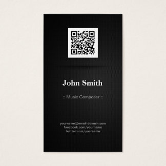Music Composer - Elegant Black QR Code Business Card