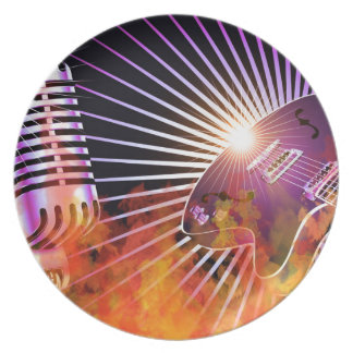 Music Concert Design with Guitar Dinner Plates