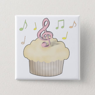 Music Cupcake 2 Inch Square Button