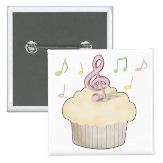 Music Cupcake 2 Inch Square Button