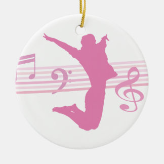 Music Dance and Drama pink Ceramic Ornament