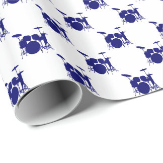 Music Dark Navy Blue Drum Set on White Wrapping Paper