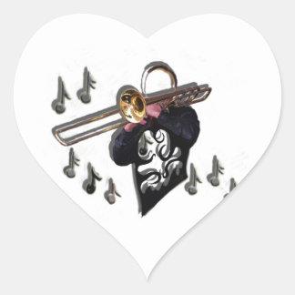 music design trombone player heart sticker