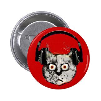 music dj cat with headphone 2 inch round button