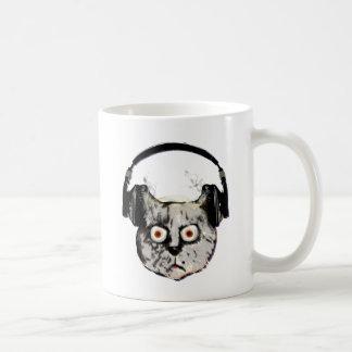 music dj cat with headphone classic white coffee mug