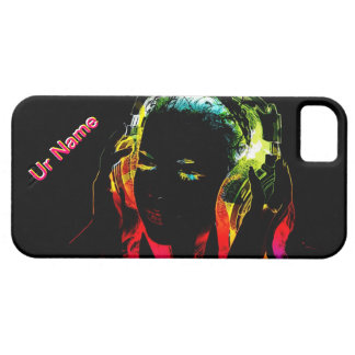 music dj girl in neon lights phone case