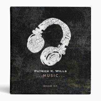 music . DJ headphone on black Binder