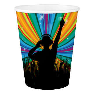 Music DJ paper cups