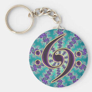 Music Double Bass Clef on Gold Fractal Keychain