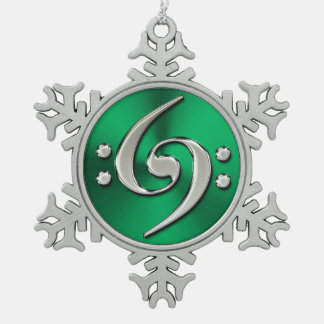 Music Double Bass Clef On Green Metallic Snowflake Snowflake Pewter Christmas Ornament