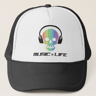 music equals life products trucker hat