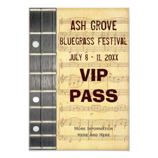 Music Festival Pass Banjo Bluegrass Theme (S) Card