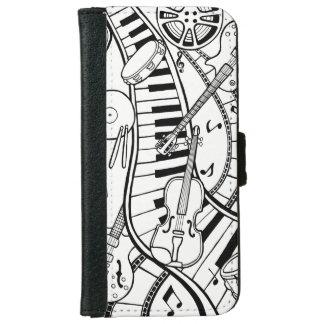 Music Film Festival Line Art Design iPhone 6 Wallet Case