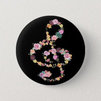 music floral treble clef on black 2 inch round button