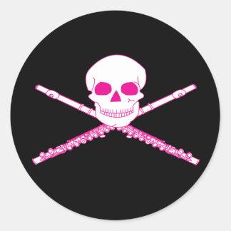 Music Flute Skull Round Musical Stickers