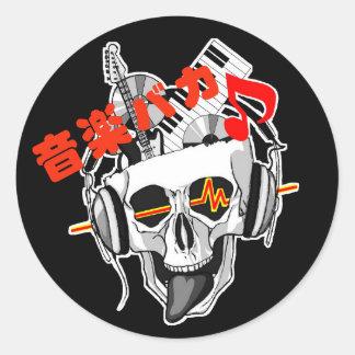 Music fool classic round sticker
