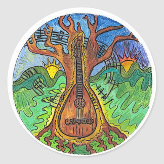 """Music from Dawn to Dusk"" Classic Round Sticker"
