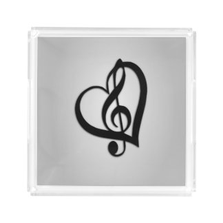 Music G Heart on Silver Acrylic Tray