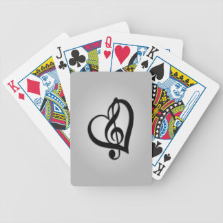 Music G Heart on Silver Bicycle Playing Cards