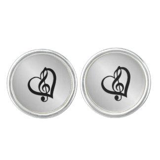 Music G Heart on Silver Cufflinks