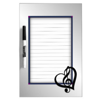 Music G Heart on Silver Lined Dry-Erase Board