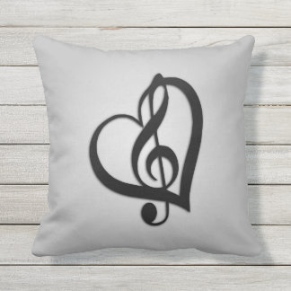 Music G Heart on Silver Throw Pillow