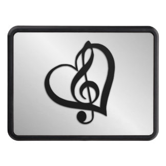 Music G Heart on Silver Trailer Hitch Cover