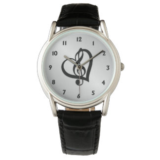 Music G Heart on Silver Wrist Watches