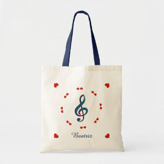 music gclef & hearts personalized tote bag