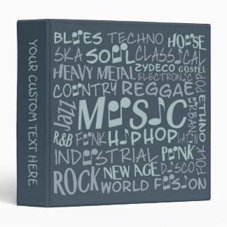 Music Genres Word Collage custom binders