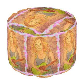 music girl art pouf