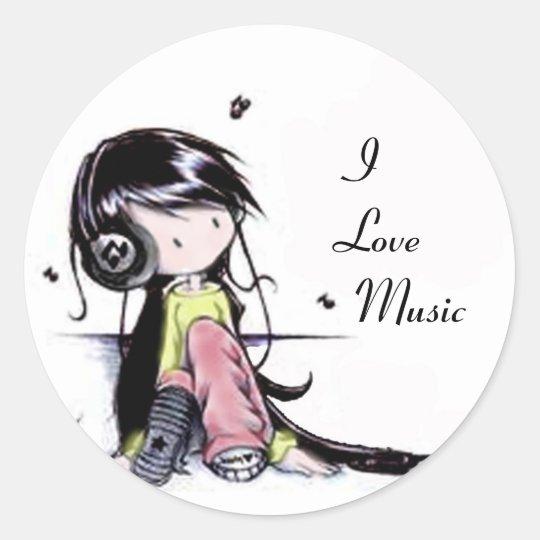 Music girl, classic round sticker