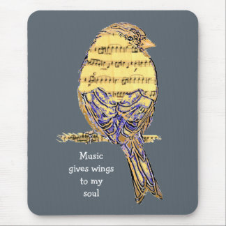 Music gives my soul wings Music Note Bird Mouse Pad