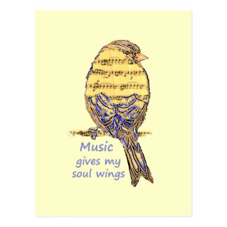 Music Gives my Soul Wings Quote & Bird Art Postcard