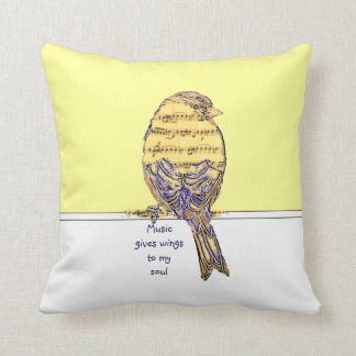 Music  gives wings to my soul with Bird Throw Pillow