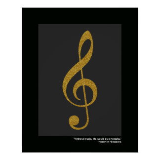 music golden-color treble clef poster