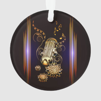 Music, golden microphone ornament