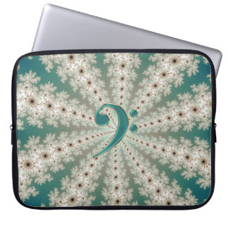 Music Green Bass Clef Star Fractal Laptop Sleeve