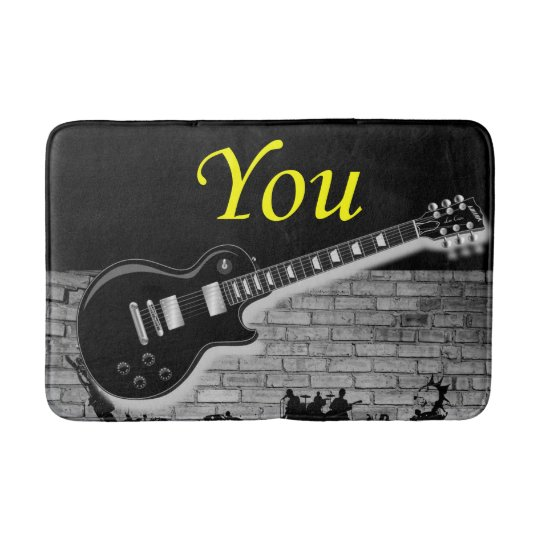 music guitar bathroom bathmat