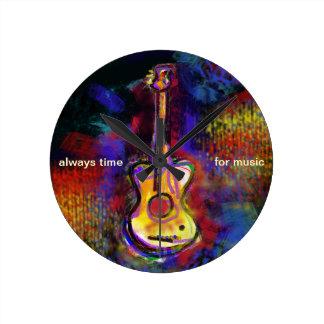 music guitar instrument round clock