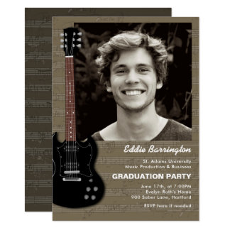 Music Guitar Photo Graduation Party Invitation