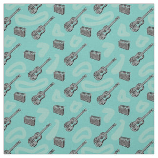 Music Guitar Radio Pattern Choose Colour Fabric